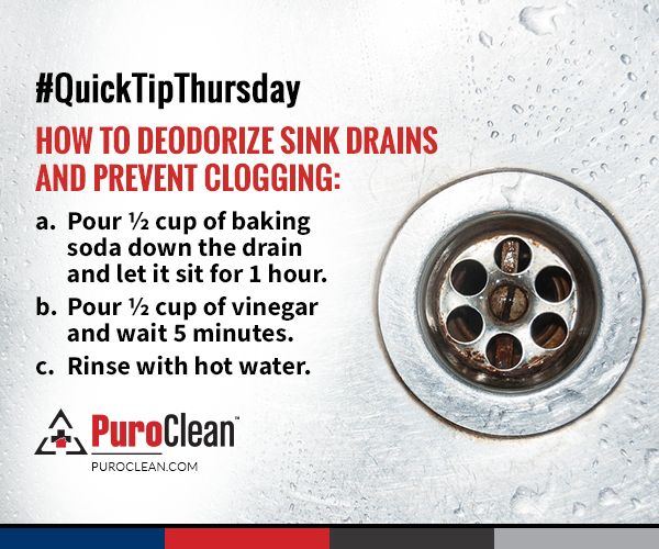 How to deodorize sink drains and prevent clogging. #SinkCleaning