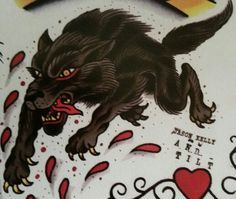 Traditional/old school wolf tattoo                              …