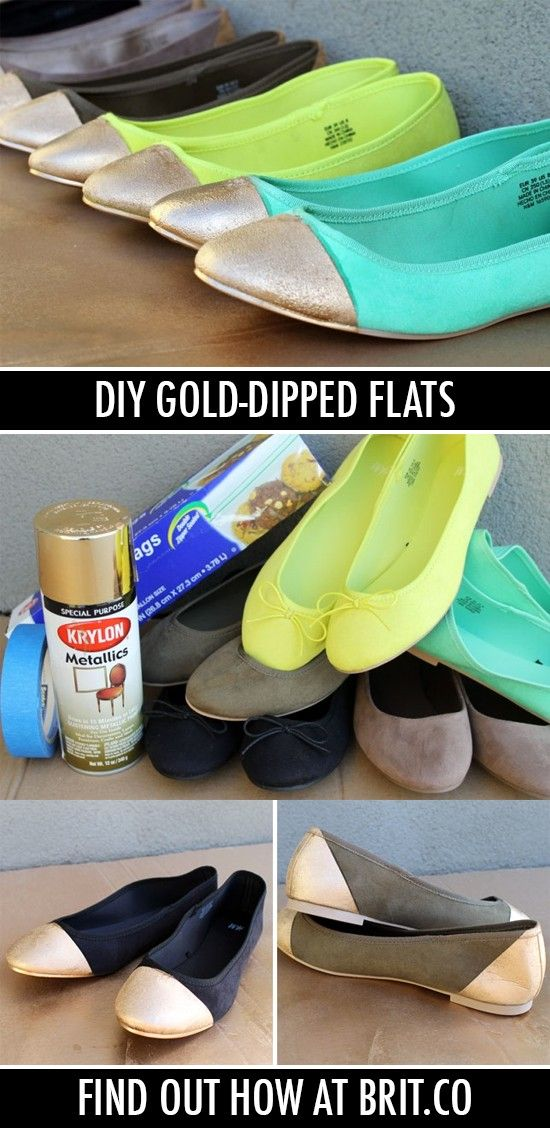 DIY Gold-Tipped Ballet Flats — can't believe these are DIY!