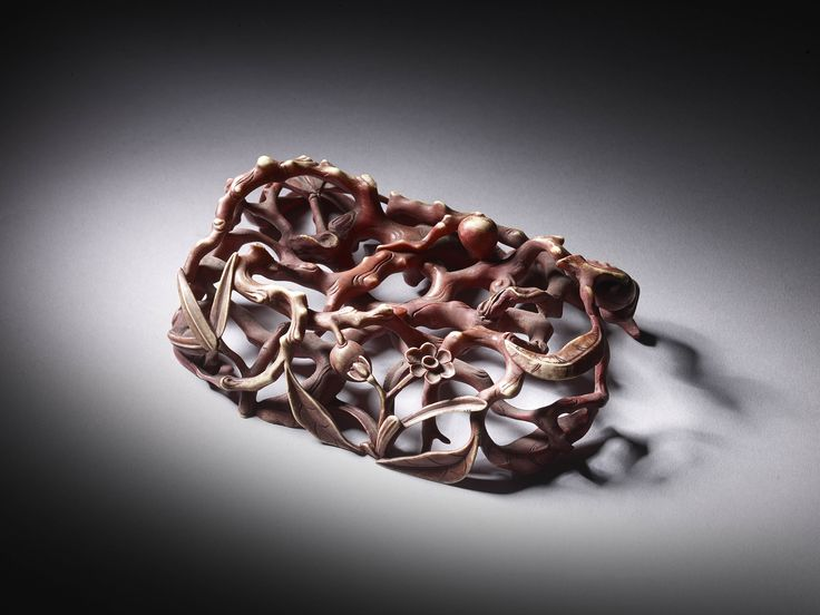 """Red pigmented stand- entwined lingzi fungus & plum blossom form, 5 3/4"""" x 4""""."""