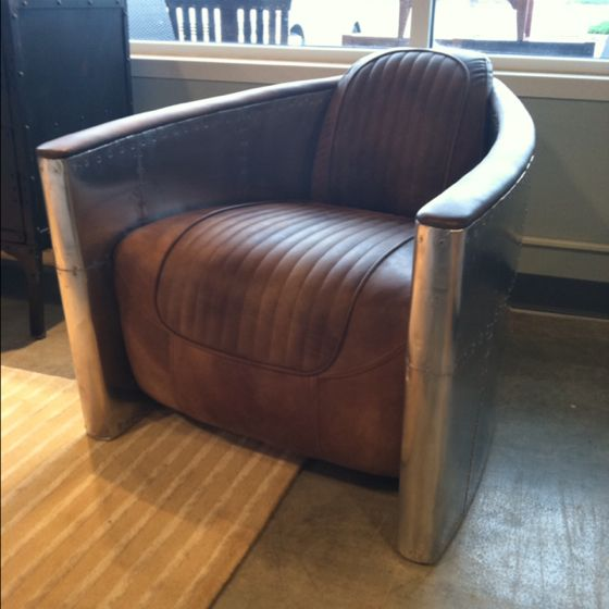 Aviator leather man cave chair