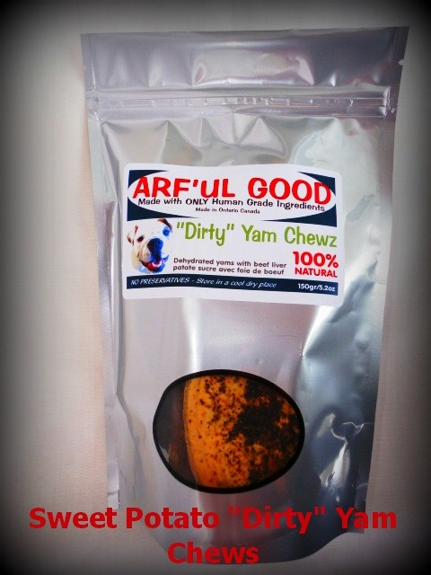 """RE-PIN! A """"SPICED UP"""" SWEET POTATO OPTION FROM ARF'UL GOOD! DEHYDRATED SWEET POTATOES SPRINKLED WITH DEHYDRATED LIVER TO ADD SOMETHING SPECIAL TO THE CHEWY TREAT! ARF'UL GOOD """"DIRTY"""" YAM DOG TREATS! A 150g PACKAGE FOR $7.95! www.arfulgood.com"""