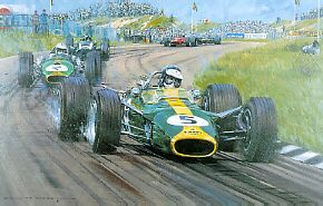 Nicholas Watts: 1967 Dutch Grand Prix at Zandvoort. Married to the Lotus 49 chassis and driven by the incomparable Jim Clark, the combination was immediately competitive and established a new standard in Grand Prix racing.