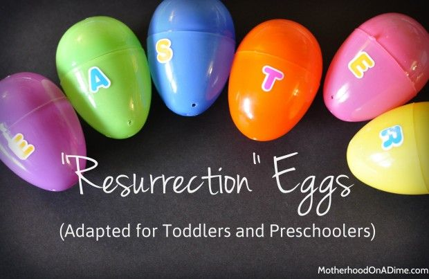 A spin-off of Resurrection Eggs for toddlers.  Cute poem a mom wrote to teach little ones about God's love