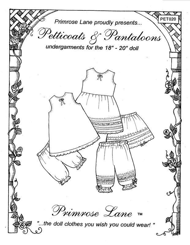 """Clothing Patterns for 18"""" American Girl Dolls -  Primrose Lane##"""