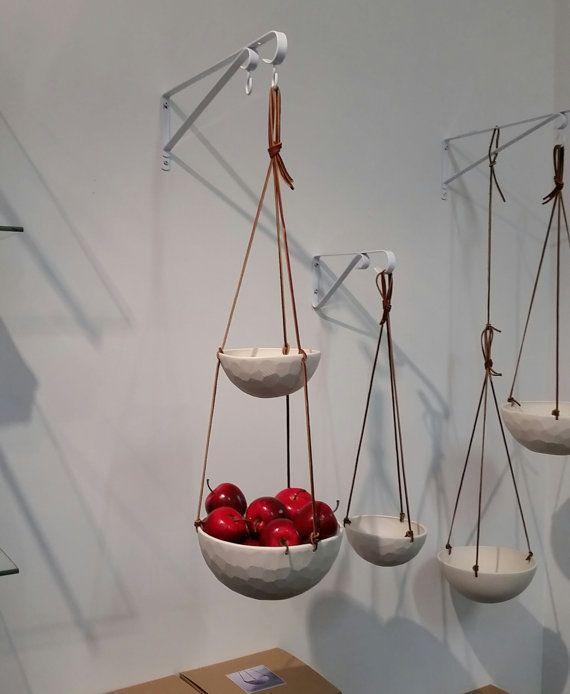 Medium Hanging Fruit Basket Two Tiered Porcelain And