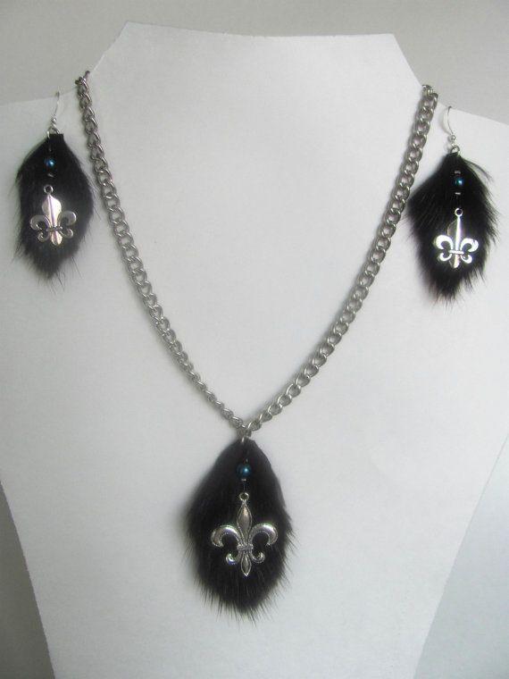 Bijoux fourrure ensemble collier et boucles par DeciBellesCreations