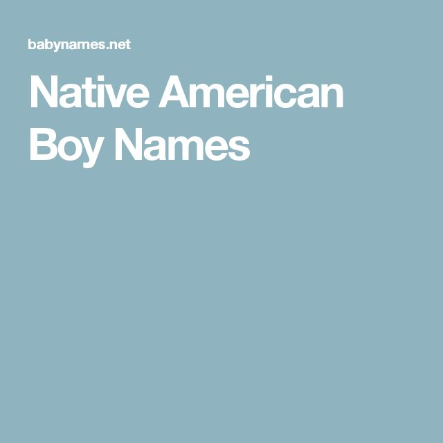 Native American Boy Names