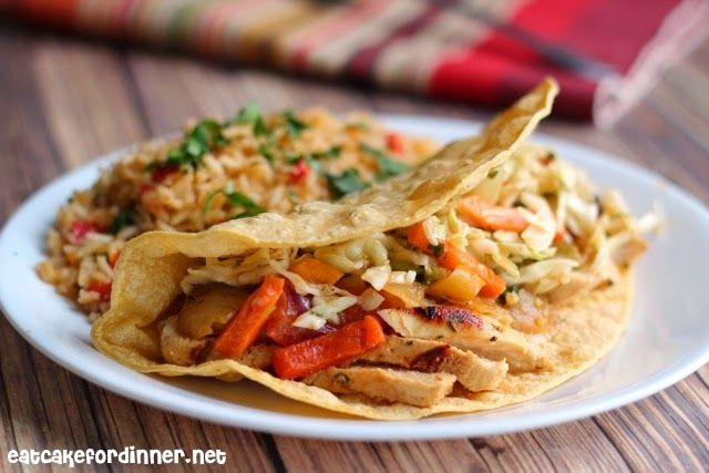 Eat Cake For Dinner: Cilantro Lime Chicken Fajitas with Mexican Slaw