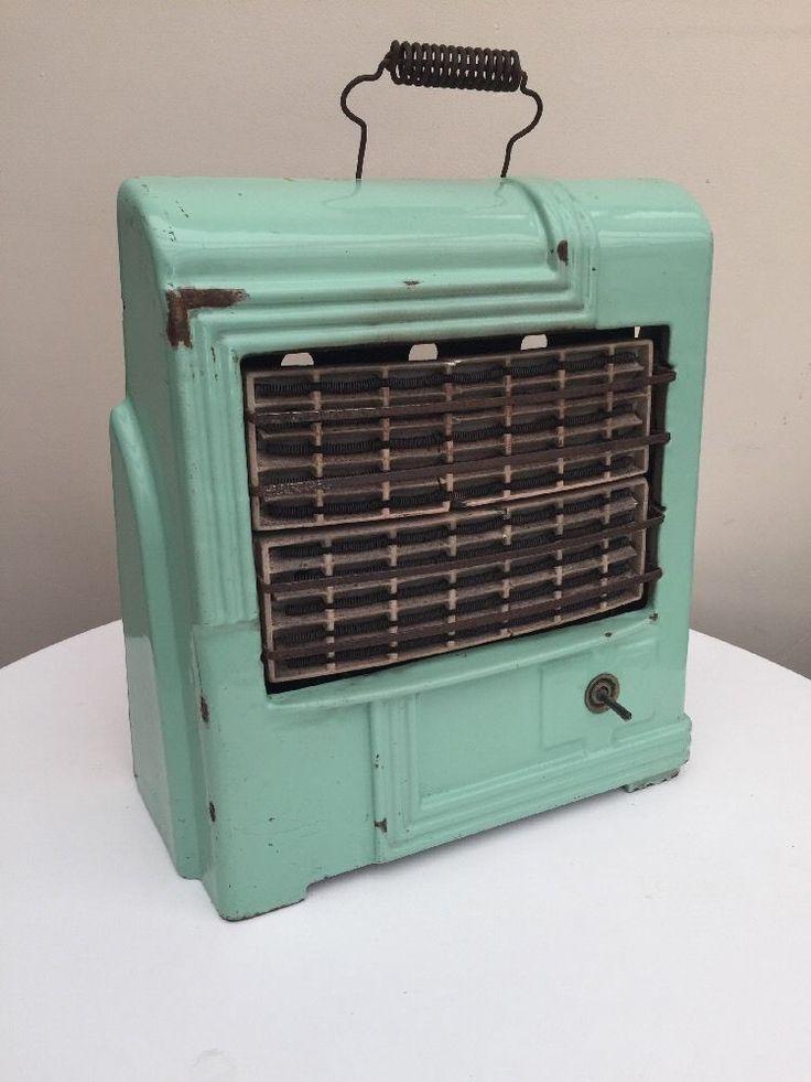 Vintage Retro Art Deco Electric Heater Cast Iron Green Enamel Fire.  | eBay