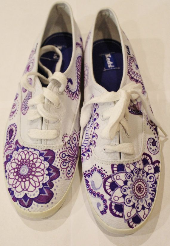 Purple Paisley Keds Tennis Shoes Custom Made & by RadNADdesigns #shoes #diy #paisley