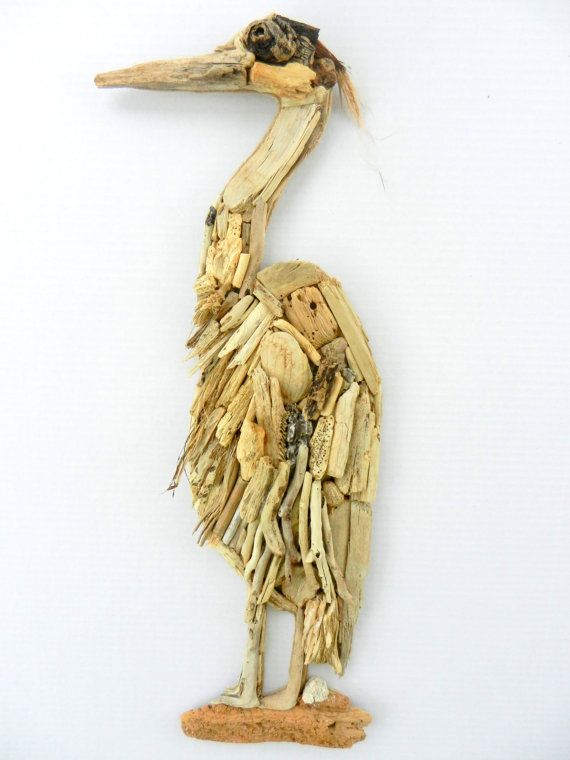 This beautiful Heron is made of natural driftwood found on the beaches of sunny South Florida. This Gorgeous bird has lots of texture from all