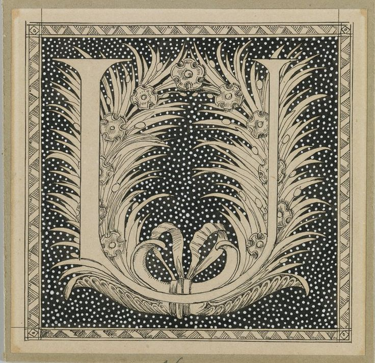 Capital letter 'U' - ink on mounted paper on board by James Tissot, ~1880s. [from set at Brooklyn Museum]