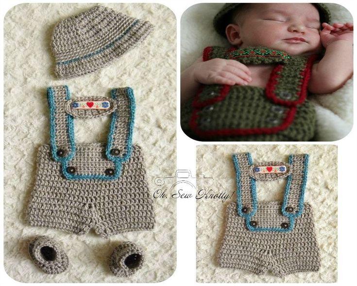 Handmade Crochet Baby Boy Lederhosen Costume, Photo Prop Hansel & Gretel | eBay