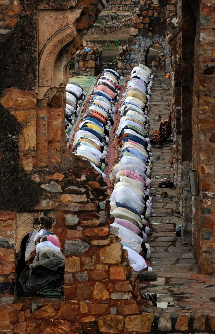 Indian Muslims offer Friday prayers at the Feroz Shah Kotla mosque during the first Friday of Ramadan in New Delhi. (AFP)