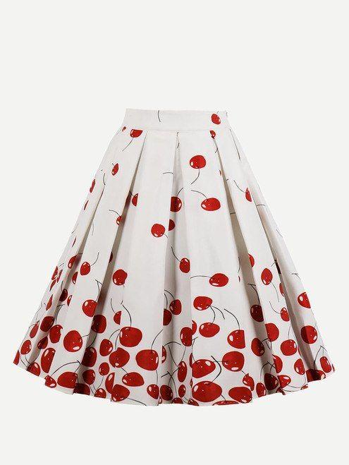 e9ee509b4e4 Cherry Print Circular Skirt
