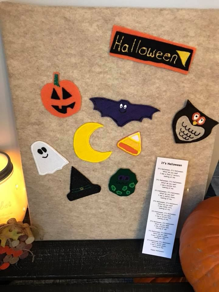 Halloween felt story. This story comes with various Halloween items that the children can identify while they are engaged in the story. Each felt story comes in a resealable bag along with a laminated story,poem or verse. Perfect for children, parents, babysitters, day home providers, and early childhood educators.