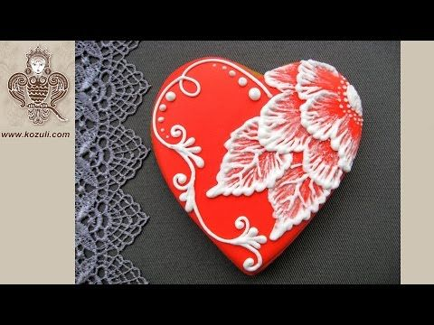 VIDEO TUTORIAL @kozuli_com  // Brush embroidery Flower cookie // Heart cookies / Mother's Day Cookies / Flower cookies / Rose cookies / Lace cookies / Icing lace cookies / Royal icing cookies / Decorated cookies / Cookie decorating / Cookie decorating ideas / Sugar cookies / More video tutorials at www.kozuli.com