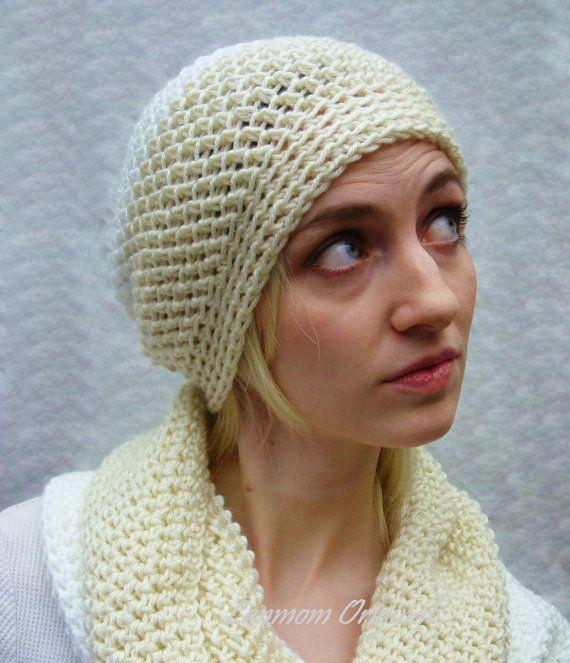 Slouchy Hat Crochet Beanie Ivory/White Soft by LanmomOriginals