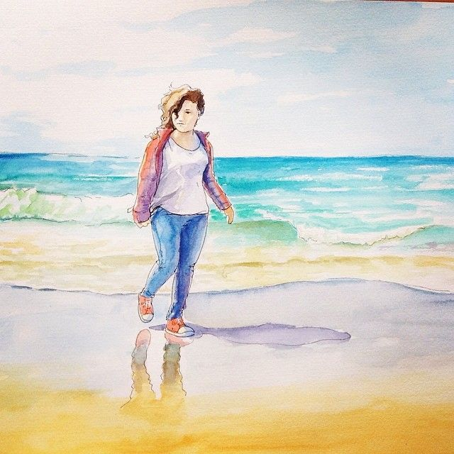 Watercolor by AlexGreenArt On the beach. by AlexGreenArt.deviantart.com on @deviantART