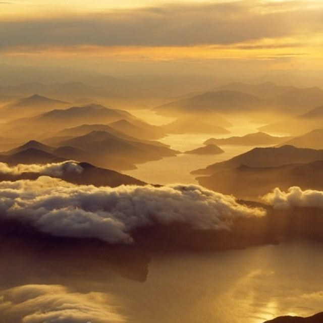 Sunset over Marlborough Sound, South New Zealand