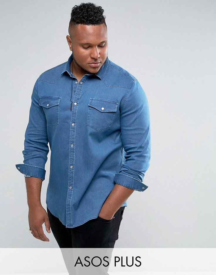ASOS PLUS Slim Denim Shirt With Western Detail With Stretch In Mid Was