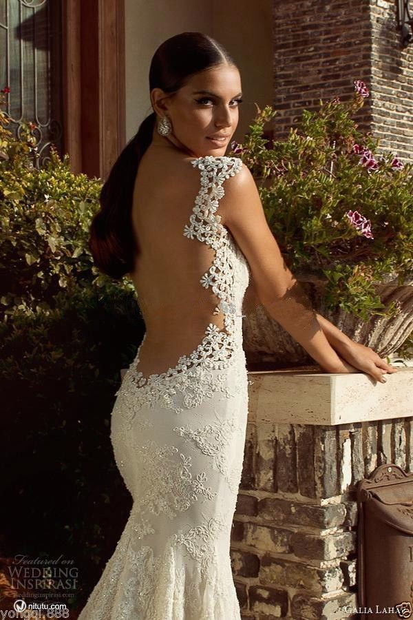 2014 fashional mermaid lace applique sexy backless wedding dress bridal gown
