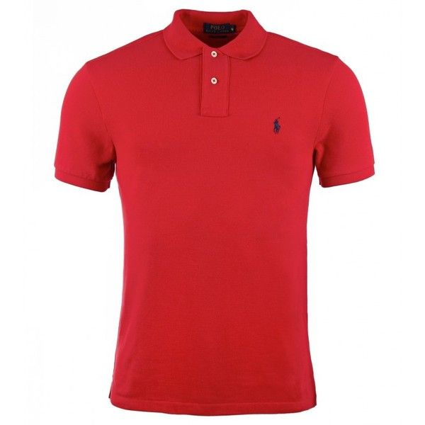 Polo Ralph Lauren Red Cotton Short Sleeve Slim Fit Polo Shirt ($92) ❤ liked on Polyvore featuring men's fashion, men's clothing, men's shirts, men's polos, male clothes, shirts, tops, mens cotton shirts, mens polo shirts and mens red polo shirt