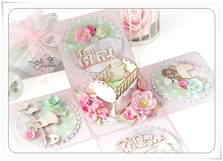 Exploding box for baby girl - Scrapbook.com