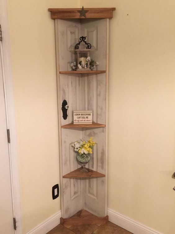 nice Custom Old door corner accent shelf , book case , Country home decor www.etsy.... by http://www.danazhome-decor.xyz/country-homes-decor/custom-old-door-corner-accent-shelf-book-case-country-home-decor-www-etsy/