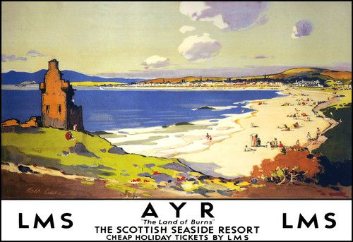 Oh how I wish we could revive and expand our train system here in the US. I long for a world where you can get around easily by train <3 ...Ayr Scottish Seaside Resort LMS LNER Train Rail Travel Poster Print