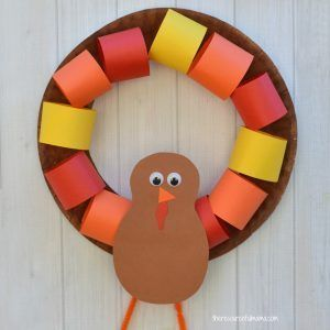 This Paper Plate Turkey Wreath is a fun kid craft and decoration for Thanksgiving. #artsandcraftsforthanksgiving,