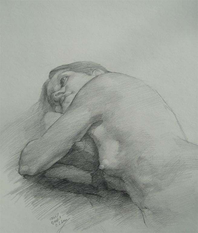 Resting, by Cyprian Libera, graphite on paper, 14x18