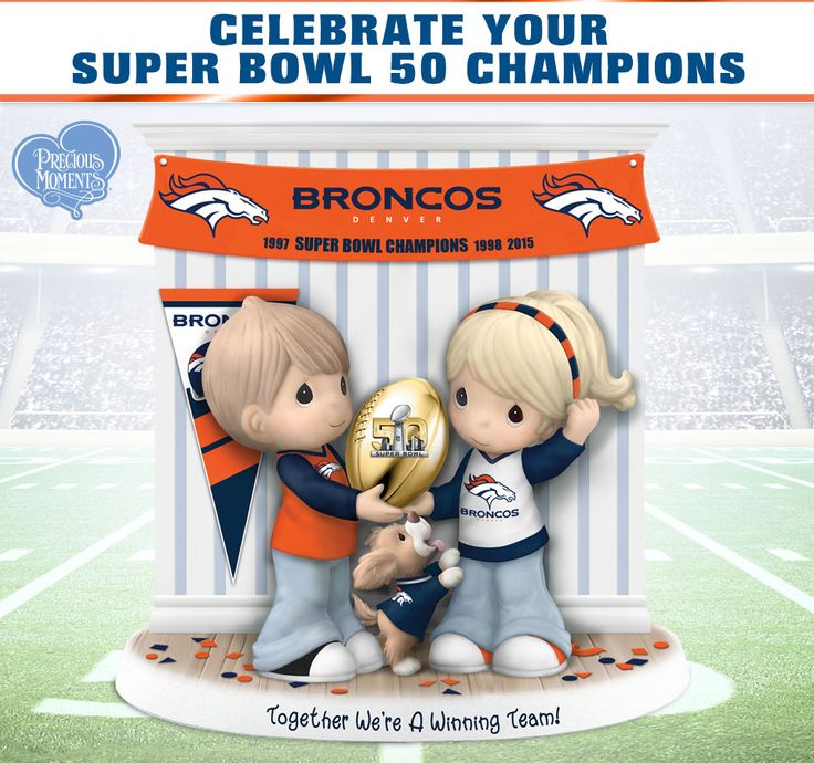 Limited-edition Precious Moments figurine honors the Denver Broncos 3 Super Bowl wins. Handcrafted of fine bisque porcelain. NFL licensed!