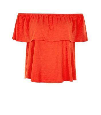 Bright Orange Frill Trim Bardot Neck Top  | New Look