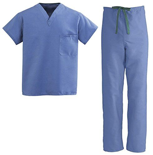 Medical Scrubs Inc Unisex Reversible V-Neck Drawstring Scrub Set For Men and Women - Looking for a pair of scrubs that you will provide you with comfort your entire shift? Medical Scrubs Inc Unisex Reversible Scrub Set in Blue and Green will make you feel like you just slipped into a fresh pair of scrubs