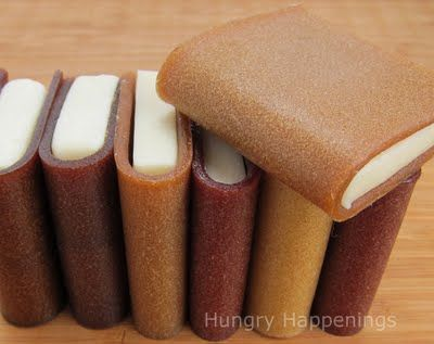 Books made from fruit leather and white chocolate.