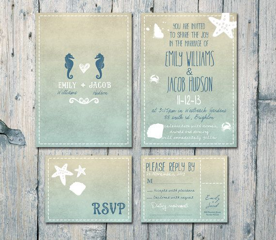 Printed Card | 50-100 Sets | Double-sided - Seahorses and Blue Sand Beach Wedding Invitation and RSVP Set - Wedding Stationery - ID168N