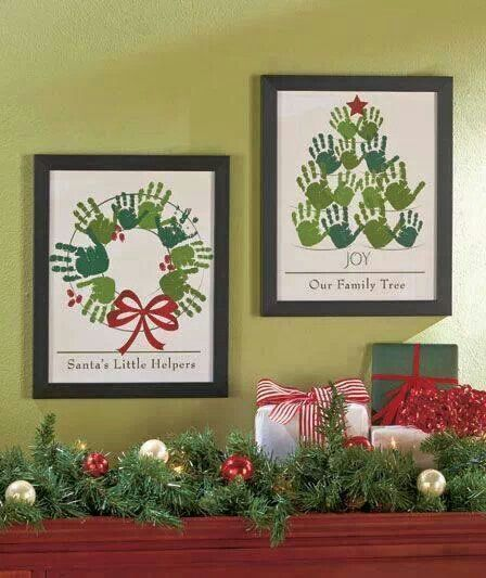 Cute Christmas gift idea using the kids hand prints.  My kids made something like this on cloth in grade school, I should frame them.