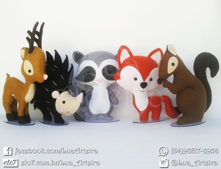Kit animais do bosque de feltro (Tamanho Pequeno) Tags: animais, animals, bosque, floresta, safari, guaxinim, raposa, veado, servo, alce, esquilo, ouriço, porco, espinho, porco-espinho, feltro, artesanato, diy, felt, lua, arteira, luaarteira.