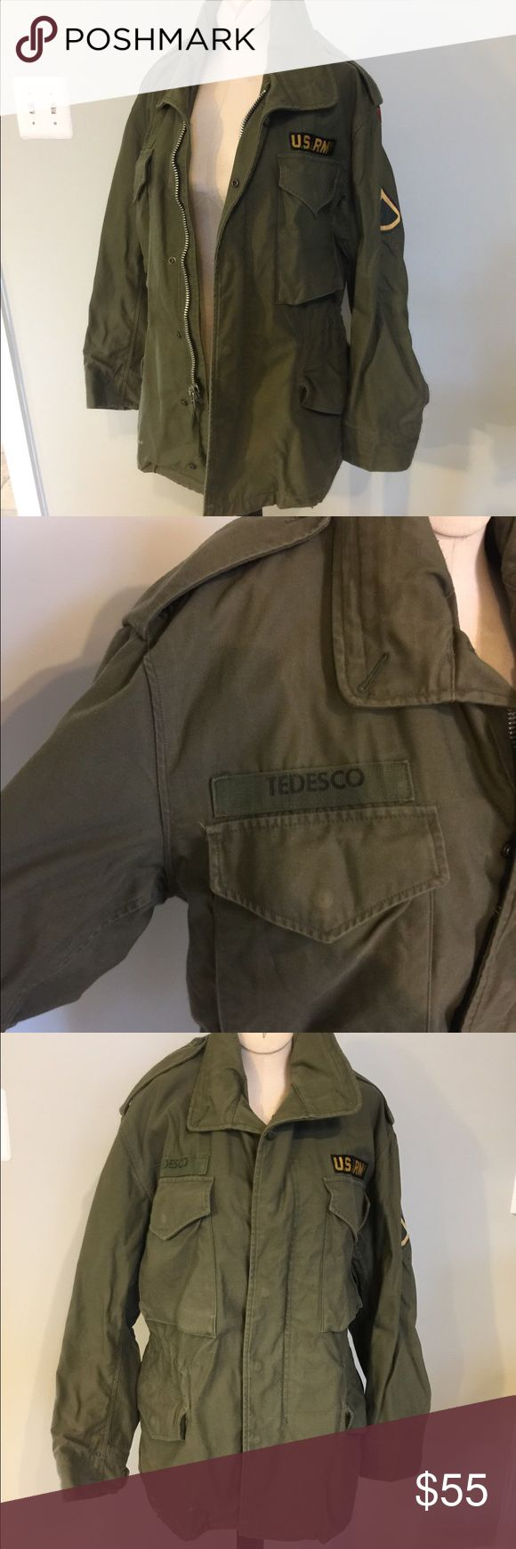 """Authentic Army Jacket Authentic Army jacket,Men's Sz Small or a woman's Med.Has the org name patch on it .Reads :Tedesco and the U.S Army patch.There is a little paint transfer on the bottom of the one corner of the jacket """"seen in picture""""Lot of character to this jacket.Nice worn in Condition. U.S Army Jackets & Coats Military & Field"""
