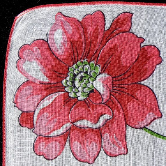 vintage handkerchief vintage red flowers and fabric