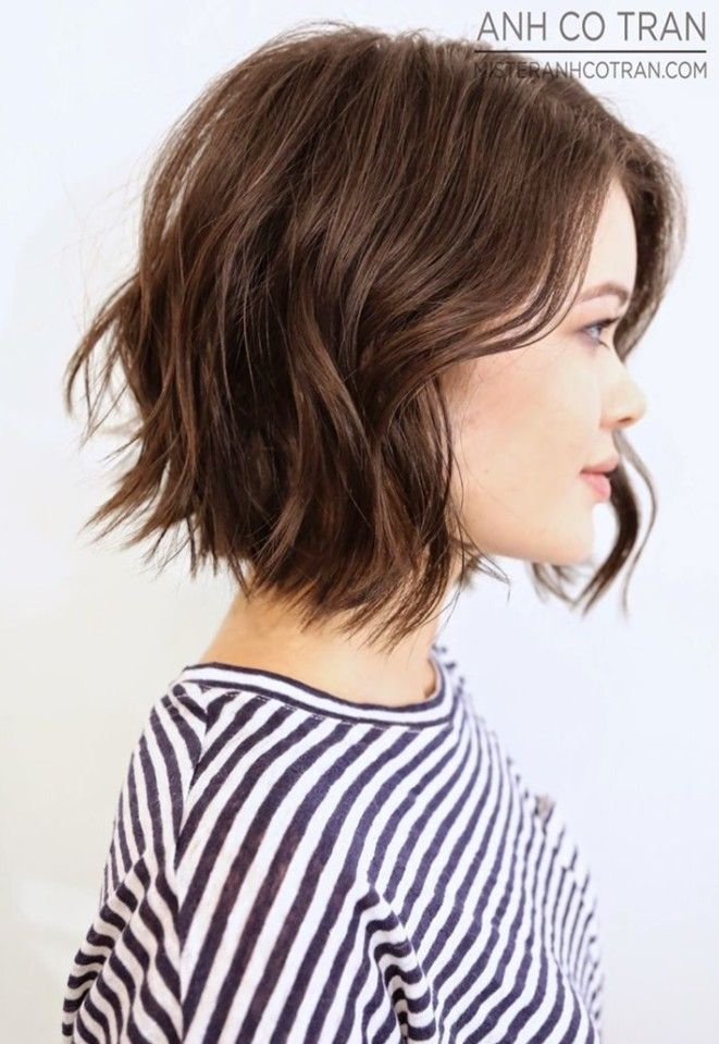 side view of short choppy bob hairstyle for girls