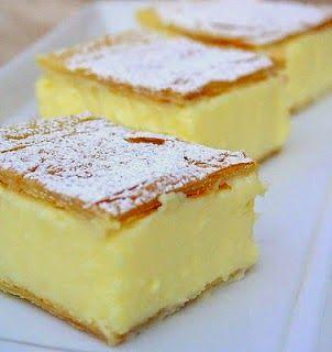 Vanilla Slice - like a vanilla custard pie bar, delicious - and so simple!,,