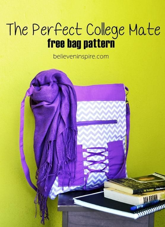 """This free sewing pattern is a bag called """"The Perfect College Mate"""".  Download it today."""