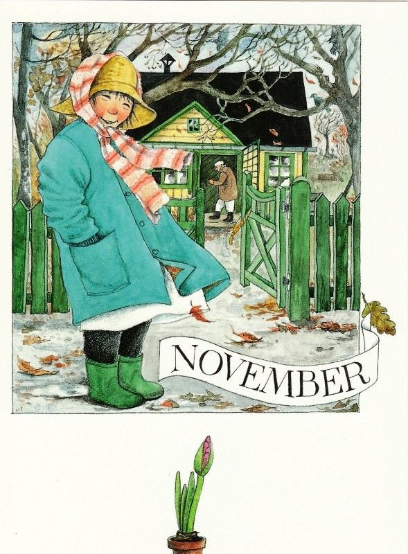 Novembre par Lena Anderson (1939) illustratrice suédoise. Son site : http://www.linneaimalarenstradgard.se/