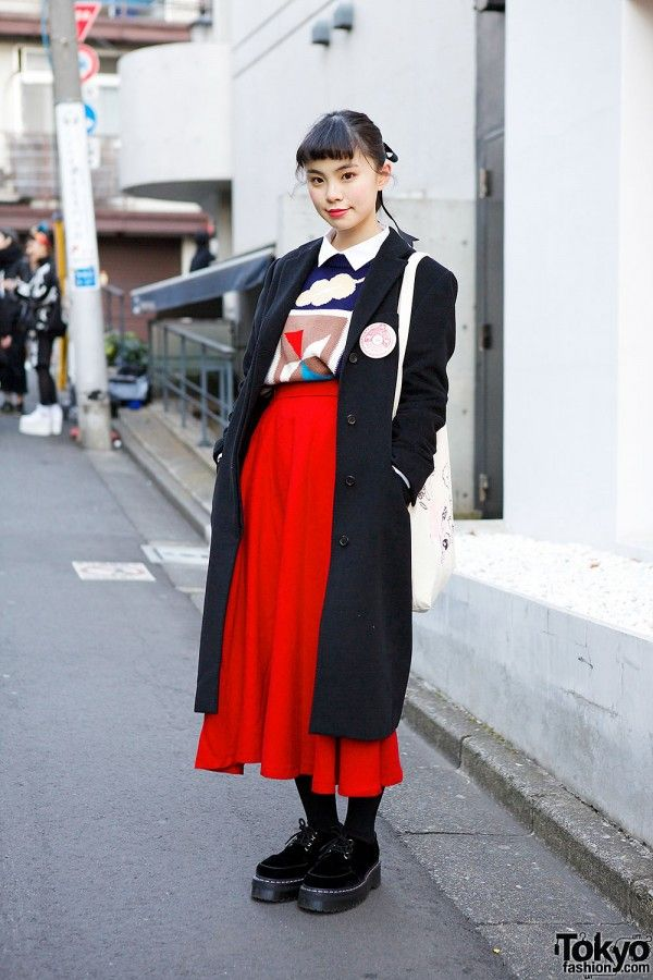 Ruko is a stylish and smiley 19-year-old student who we often see in Harajuku. Her look here includes a vintage sweater with a resale maxi-skirt, a Gucci coat, and velvet Dr. Martens creepers. #tokyofashion #street snap #Harajuku
