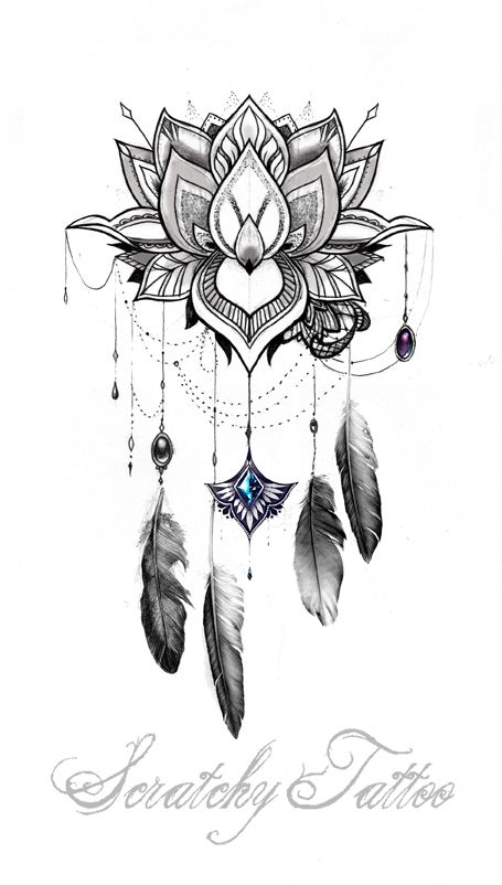 scratchy.tattoo: Mandala Moon – Dream catcher – flower bow
