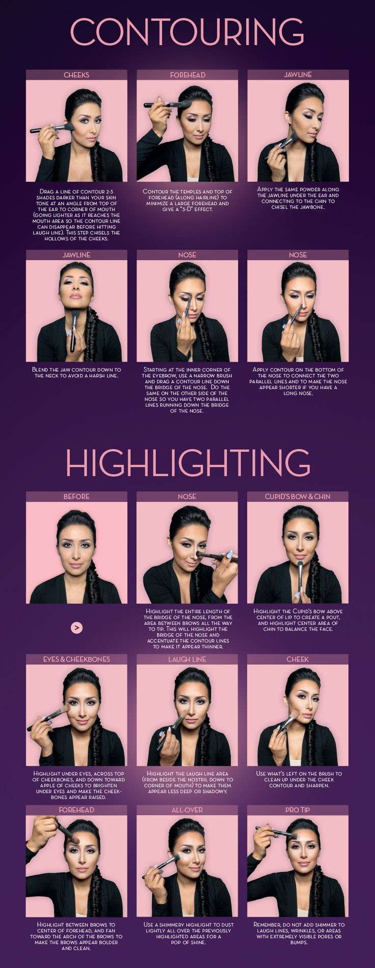 Highlight and contour guide. Courtesy of Anastasia Beverly Hills and Dress Your Face.