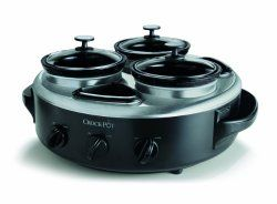 Crock-Pot Quart Triple Dipper Food Warmer with Portable Lid, Stainless Steel